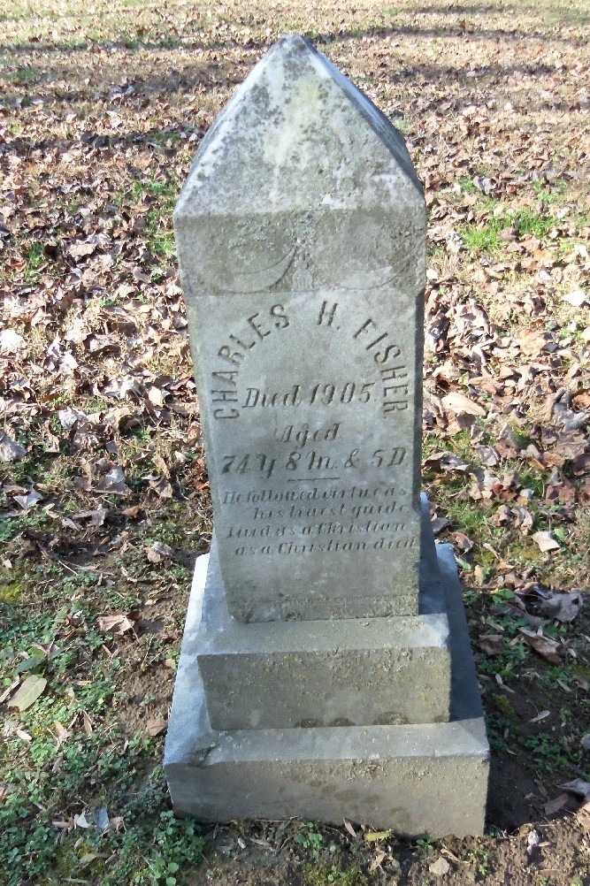 Gravestone of a black ancestor, Charles Fisher, at Ceres Bethel A.M.E. Church, Burkittsville, Frederick County, MD