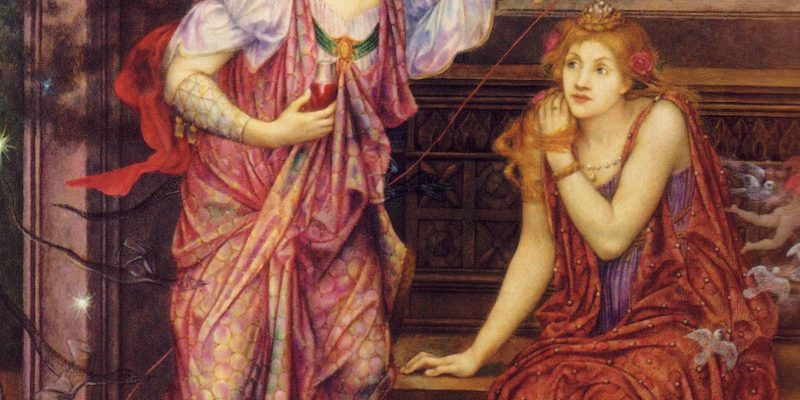 Pre-Raphaelite painting of Fair Rosamund and Queen Eleanor