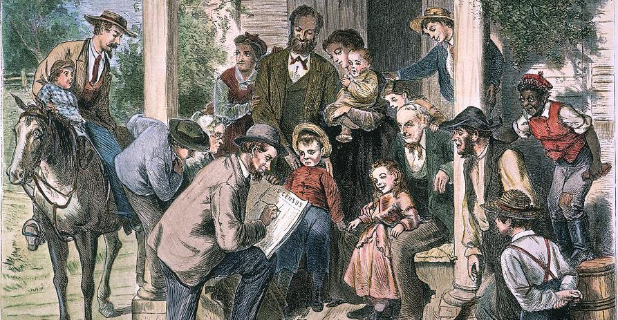 In this depiction of the 1870 Census being taken, the artist includes a stereotyped image of a person of color.