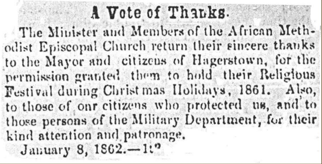 Advertisement in Herald of Freedom & Torch Light, Hagerstown, 8 Jan. 1862: Ebenezer A.M.E. Church thanks city for supporting 1861 Christmas festival
