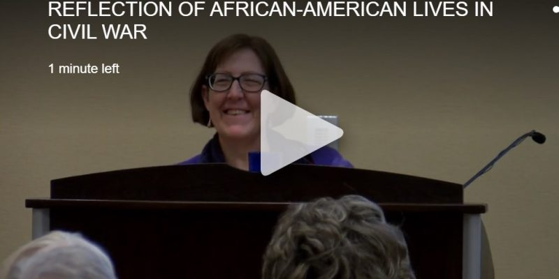 Dr. Emilie Amt at the podium during her talk on African Americans in the Civil War in western Maryland.