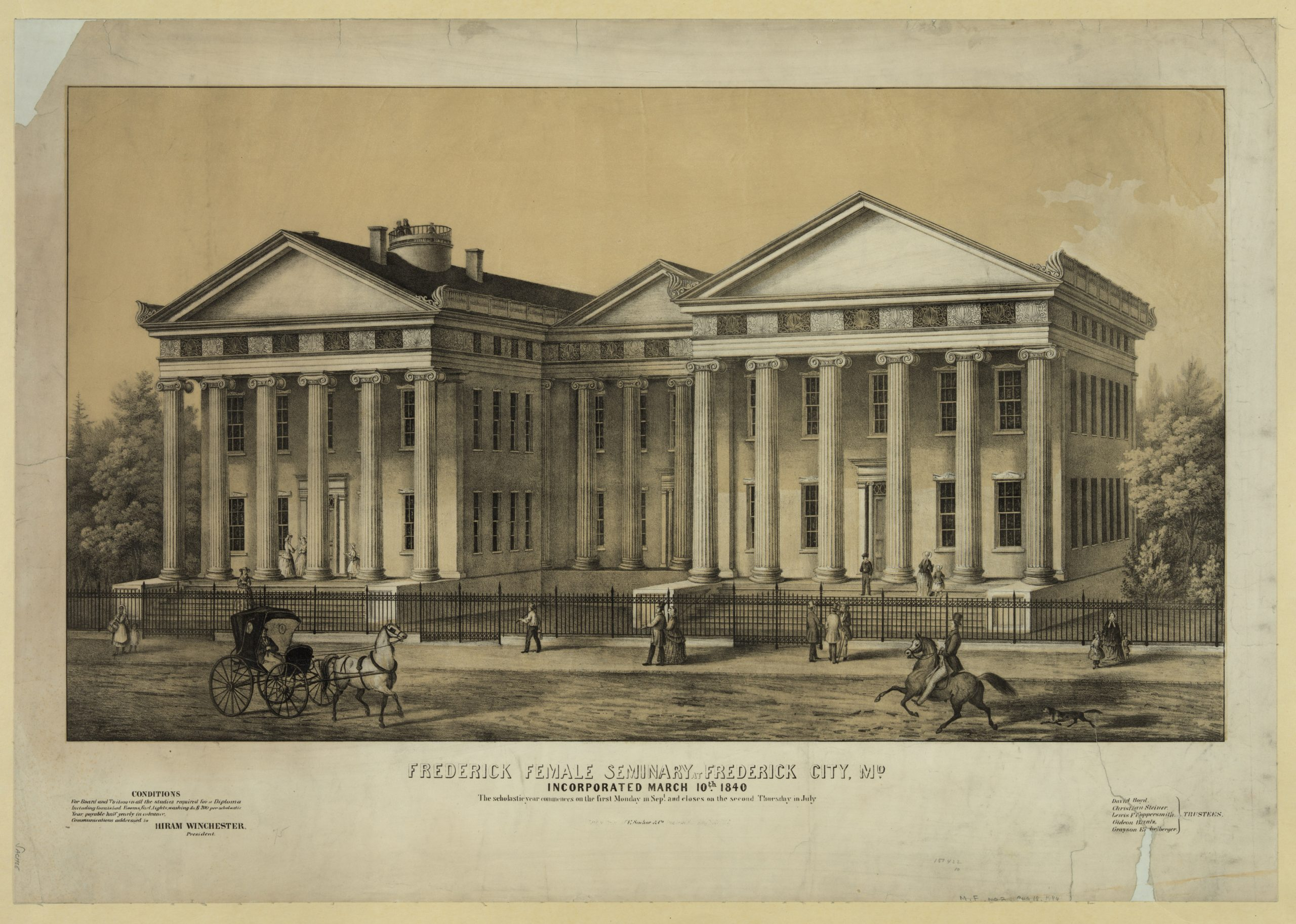 Mid-nineteenth-century engraving of a grand building in the Greek revival style, with two gables at the street, each supported by six Ionic columns, two stories tall; a central recessed gable with columns connects them. Street scene with carriages in foreground.