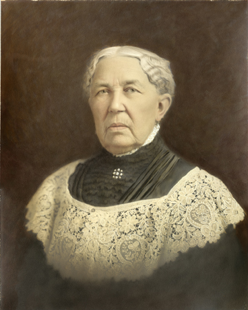Early twentieth-century painting of an older woman with short white hair, wearing a high-necked black dress, white lace overlay, and pearl brooch