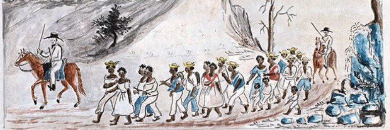 Color sketch of 20 African American men, women and children, some tied in pairs, walking through a hilly landscape, led by one man on horseback with a whip, and followed by another.
